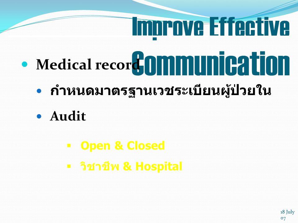 18 July 07 Improve Effective Communication Medical record กำหนดมาตรฐานเวชระเบียนผู้ป่วยใน Audit  Open & Closed  วิชาชีพ & Hospital