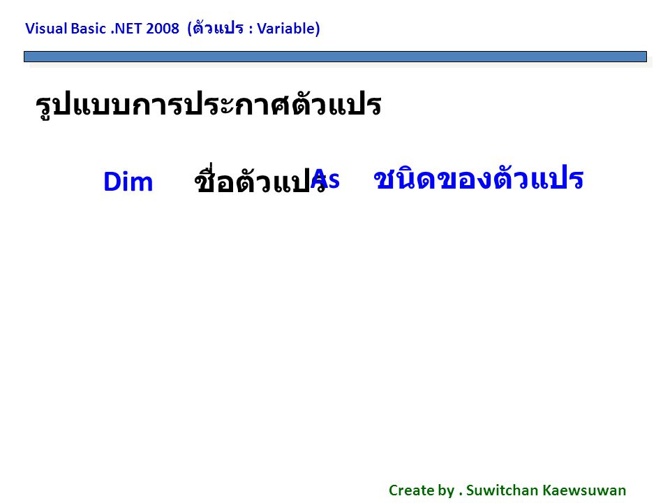 Visual Basic.NET 2008 ( ตัวแปร : Variable) Create by.
