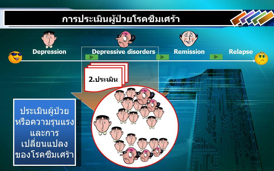 DepressionDepressive disordersRemissionRelapse 2.ประเมิน การประเมินผู้ป่วยโรคซึมเศร้า ประเมินผู้ป่วย หรือความรุนแรง และการ เปลี่ยนแปลง ของโรคซึมเศร้า ประเมินผู้ป่วย หรือความรุนแรง และการ เปลี่ยนแปลง ของโรคซึมเศร้า