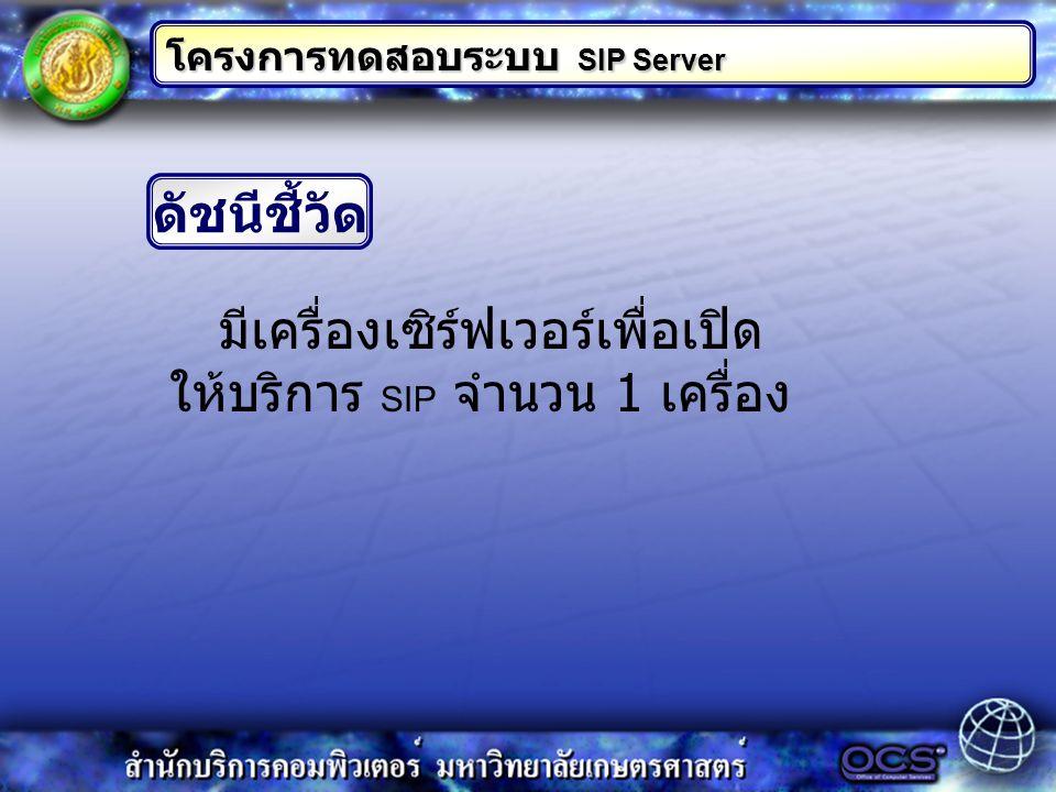 ดัชนีชี้วัด มีเครื่องเซิร์ฟเวอร์เพื่อเปิด ให้บริการ SIP จำนวน 1 เครื่อง โครงการทดสอบระบบ SIP Server