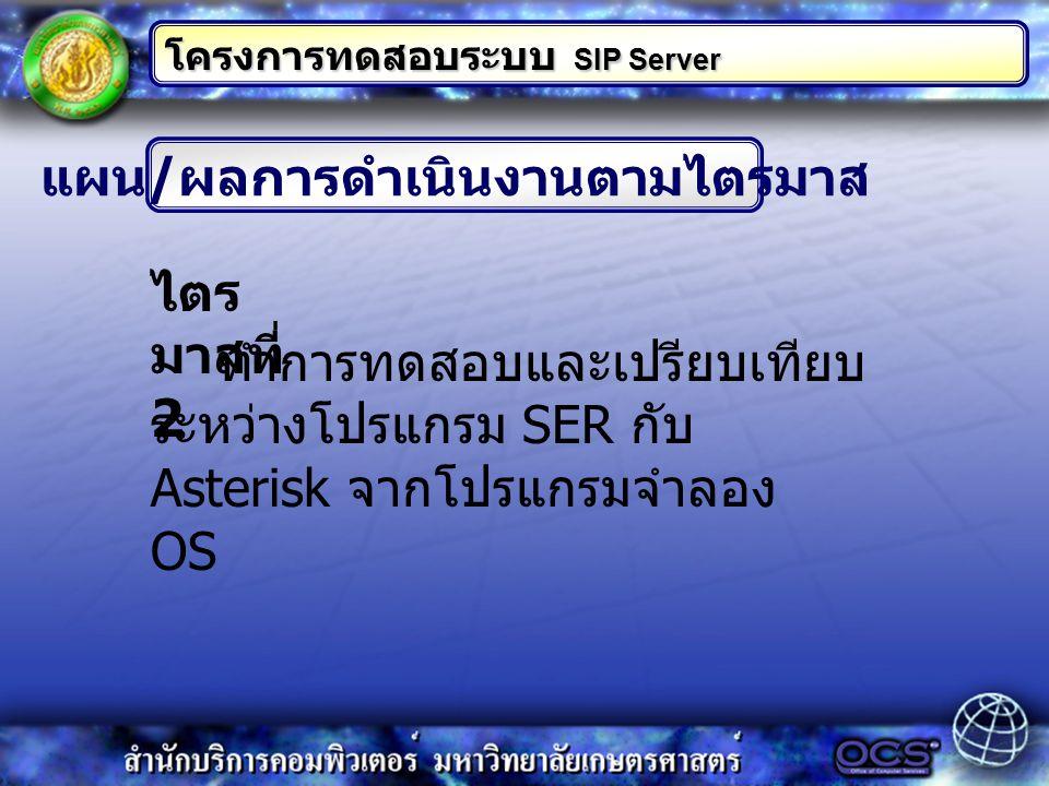 แผน / ผลการดำเนินงานตามไตรมาส โครงการทดสอบระบบ SIP Server ทำการทดสอบและเปรียบเทียบ ระหว่างโปรแกรม SER กับ Asterisk จากโปรแกรมจำลอง OS ไตร มาสที่ 2