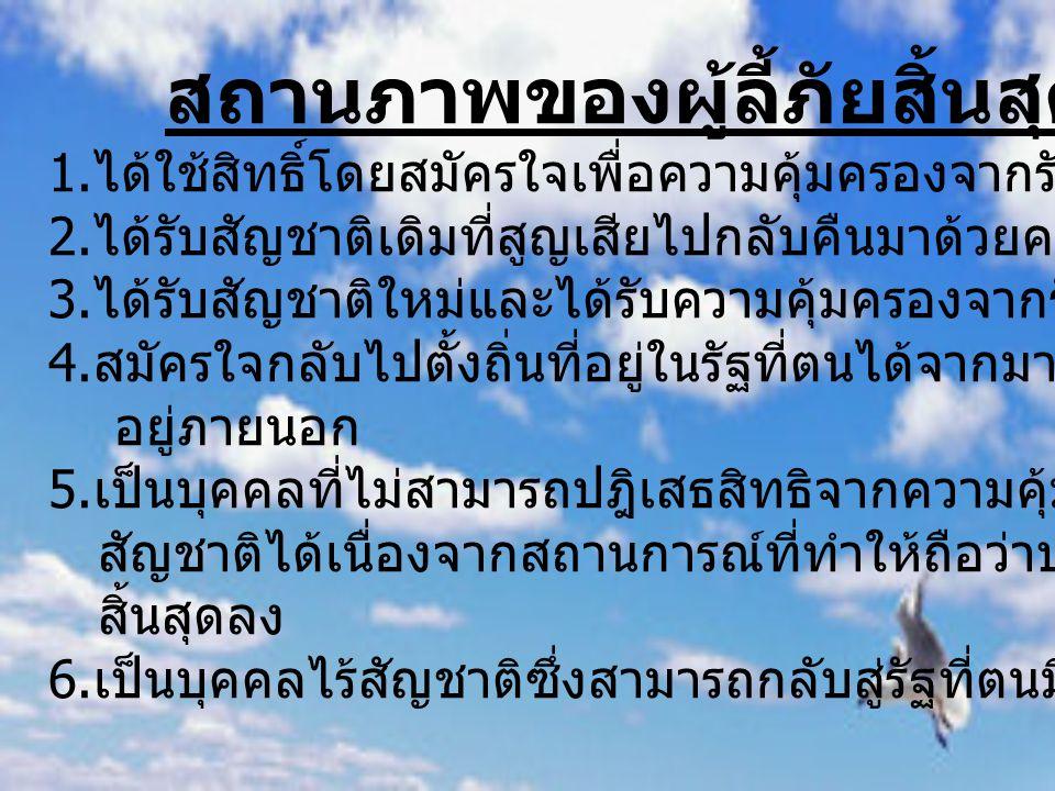ประเทศไทยกับปัญหาผู้ลี้ภัย ปัญหามีอยู่ว่าไทยจำเป็นต้องรับผู้ลี้ภัยหรือไม่ต้องพิจารณาตามหลักเกณฑ์เรื่องที่มี ของกฎหมายระหว่างประเทศ ข้อแรกคือพิจารณาว่าอนุสัญญานี้เป็นความตกลงระหว่าง ประเทศซึ่งประเทศไทยเป็นภาคีอนุสัญญาหรือไม่ ข้อสองพิจารณาว่าเป็นจารีตประเพณีระหว่างประเทศหรือเป็น หลักกฎหมายทั่วไปที่ประเทศต่างๆที่เจริญแล้ว ยอมรับหรือไม่ความจริงแล้วไทยไม่ได้เป็นภาคีอนุสัญญาและมิได้ยอมรับหลักเกณฑ์ เรื่องผู้ลี้ภัยแต่อย่างใด ไม่มีกฎหมายไทยฉบับใดระบุถึงผู้ลี้ภัยจึงไม่ใช่เป็นจารีตประเพณีระหว่างประเทศ และมิใช่หลักกฎหมายทั่วไป