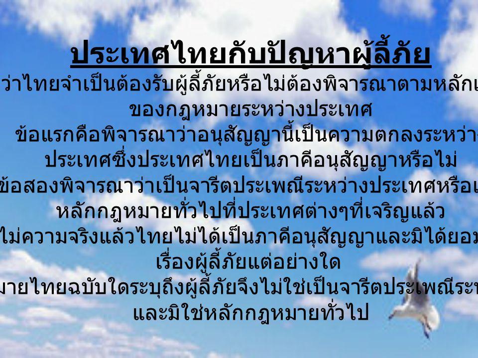 ประเทศไทยกับปัญหาผู้ลี้ภัย ปัญหามีอยู่ว่าไทยจำเป็นต้องรับผู้ลี้ภัยหรือไม่ต้องพิจารณาตามหลักเกณฑ์เรื่องที่มี ของกฎหมายระหว่างประเทศ ข้อแรกคือพิจารณาว่า