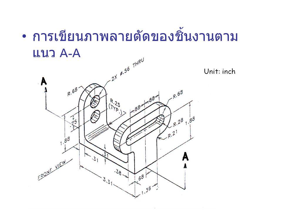 การเขียนภาพลายตัดของชิ้นงานตาม แนว A-A Unit: inch