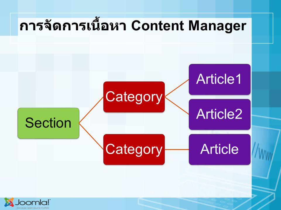 การจัดการเนื้อหา Content Manager SectionCategoryArticle1Article2CategoryArticle