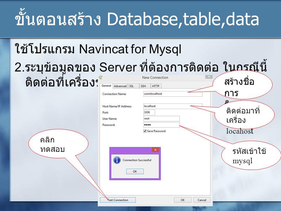 ขั้นตอนสร้าง Database,table,data ใช้โปรแกรม Navincat for Mysql 2.