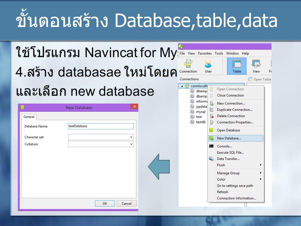 ขั้นตอนสร้าง Database,table,data ใช้โปรแกรม Navincat for Mysql 4.