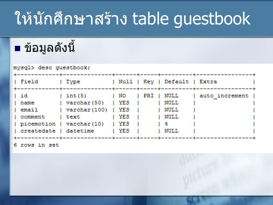 ให้นักศึกษาสร้าง table guestbook ข้อมูลดังนี้