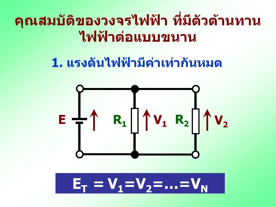วงจรไฟฟ้ากระแสตรงที่มีตัวต้านทานไฟฟ้า ต่อแบบขนาน วงจรที่มีตัวต้านทานไฟฟ้าตั้งแต่ 2 ตัวขึ้นไป ต่อขนานเข้าด้วยกันและต่อเข้ากับแหล่งจ่ายไฟฟ้า กระแสตรง R1R1 E R2R2 A B