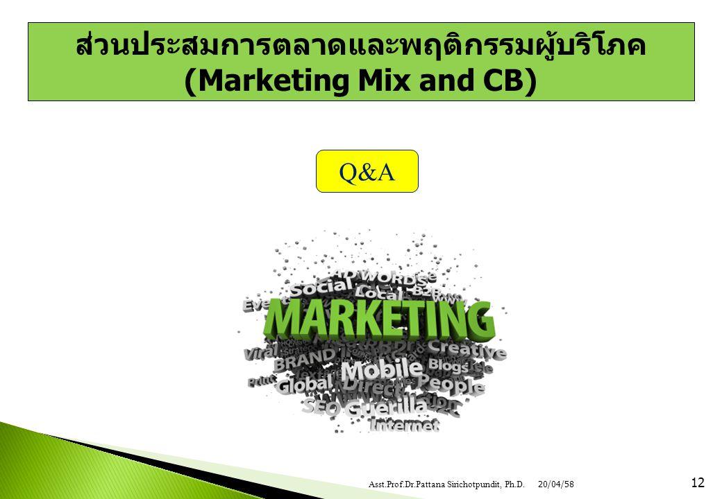 12 Q&A ส่วนประสมการตลาดและพฤติกรรมผู้บริโภค (Marketing Mix and CB) 20/04/58Asst.Prof.Dr.Pattana Sirichotpundit, Ph.D.