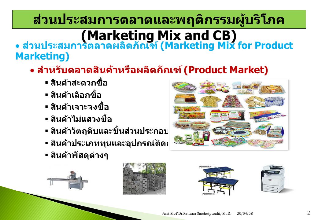  ส่วนประสมการตลาดผลิตภัณฑ์ (Marketing Mix for Product Marketing)  สำหรับตลาดสินค้าหรือผลิตภัณฑ์ (Product Market)  สินค้าสะดวกซื้อ  สินค้าเลือกซื้อ