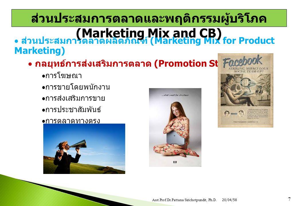  ส่วนประสมการตลาดผลิตภัณฑ์ (Marketing Mix for Product Marketing)  กลยุทธ์การส่งเสริมการตลาด (Promotion Strategy)  การโฆษณา  การขายโดยพนักงาน  การ