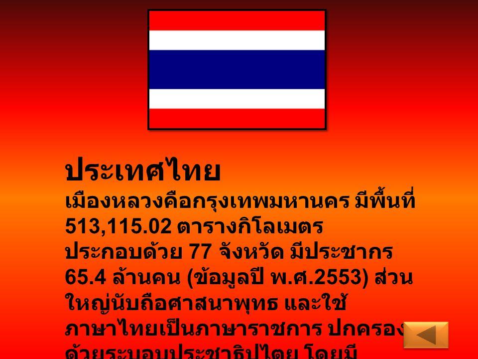 ประเทศไทย เมืองหลวงคือกรุงเทพมหานคร มีพื้นที่ 513,115.02 ตารางกิโลเมตร ประกอบด้วย 77 จังหวัด มีประชากร 65.4 ล้านคน ( ข้อมูลปี พ. ศ.2553) ส่วน ใหญ่นับถ
