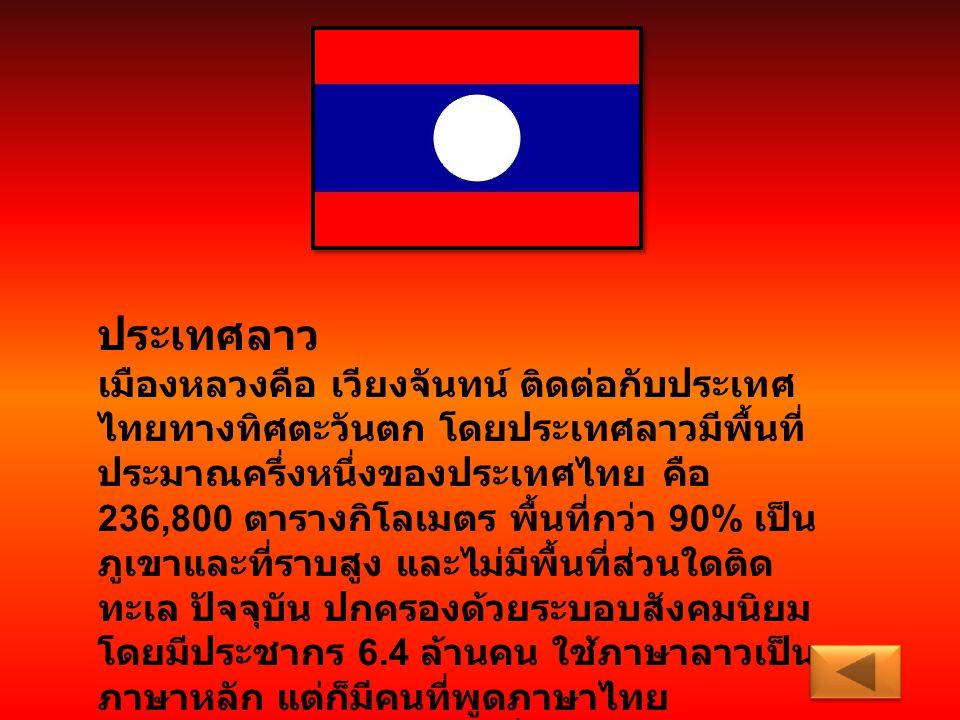 ประเทศลาว เมืองหลวงคือ เวียงจันทน์ ติดต่อกับประเทศ ไทยทางทิศตะวันตก โดยประเทศลาวมีพื้นที่ ประมาณครึ่งหนึ่งของประเทศไทย คือ 236,800 ตารางกิโลเมตร พื้นท