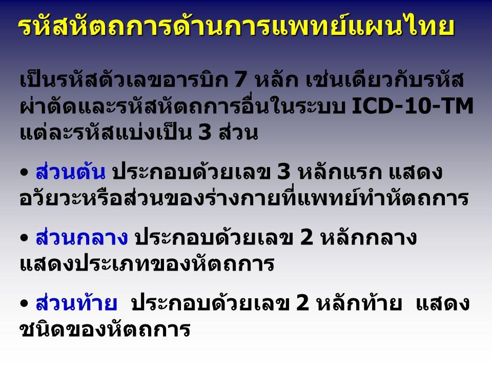 รหัสหัตถการด้านการแพทย์แผนไทย รหัสหัตถการด้านการแพทย์แผนไทย เป็นรหัสตัวเลขอารบิก 7 หลัก เช่นเดียวกับรหัส ผ่าตัดและรหัสหัตถการอื่นในระบบ ICD-10-TM แต่ละรหัสแบ่งเป็น 3 ส่วน ส่วนต้น ประกอบด้วยเลข 3 หลักแรก แสดง อวัยวะหรือส่วนของร่างกายที่แพทย์ทำหัตถการ ส่วนกลาง ประกอบด้วยเลข 2 หลักกลาง แสดงประเภทของหัตถการ ส่วนท้าย ประกอบด้วยเลข 2 หลักท้าย แสดง ชนิดของหัตถการ