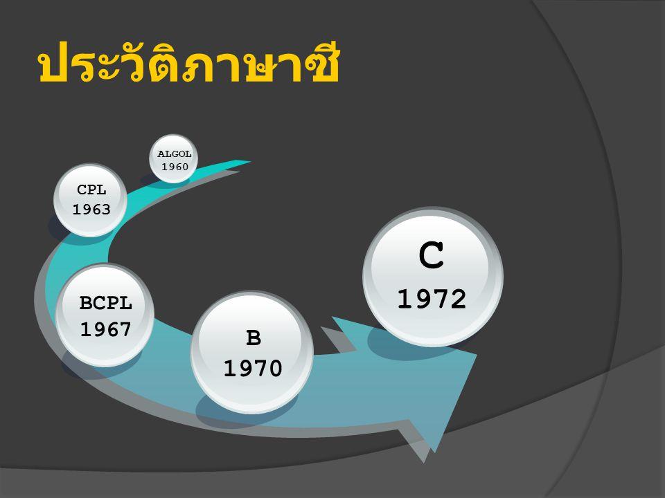 ประวัติภาษาซี B 1970 BCPL 1967 CPL 1963 ALGOL 1960 C 1972
