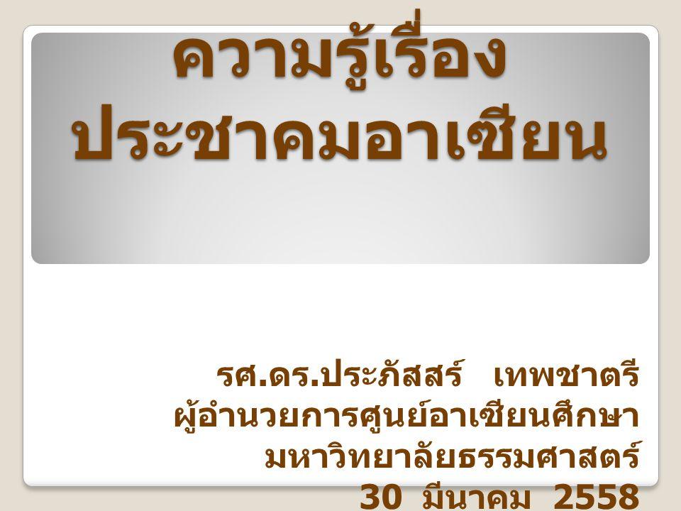 ความสำคัญของอาเซียน ต่อไทย การค้า การผงาดขึ้นมาของอาเซียนเป็น ขั้วเศรษฐกิจโลก อำนาจการต่อรอง อาเซียนเป็นแกนกลาง สถาปัตยกรรมของภูมิภาค ด้านความมั่นคง ด้านสังคมวัฒนธรรม ประชาคมอาเซียน ครอบครัว เดียวกัน บ้านหลังเดียวกัน