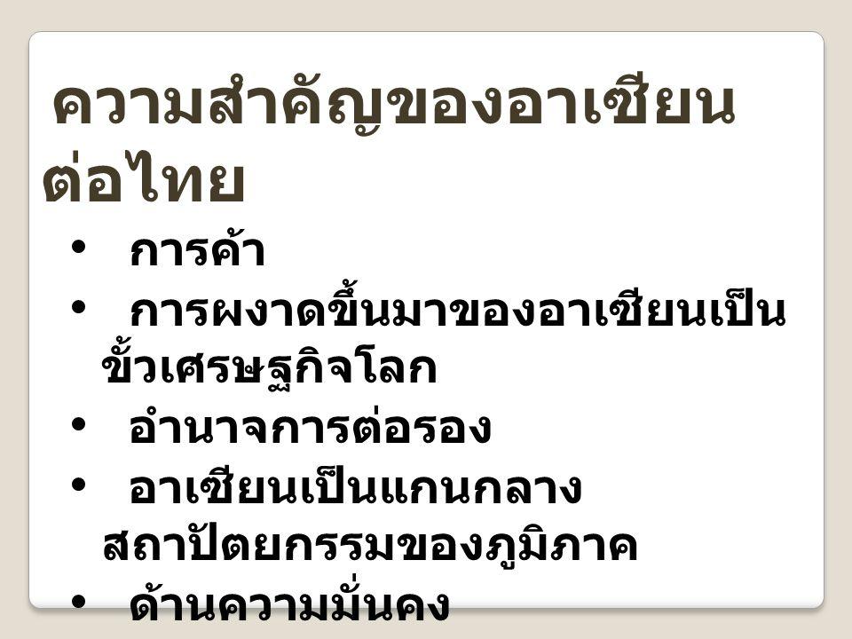 ความสำคัญของอาเซียน ต่อไทย การค้า การผงาดขึ้นมาของอาเซียนเป็น ขั้วเศรษฐกิจโลก อำนาจการต่อรอง อาเซียนเป็นแกนกลาง สถาปัตยกรรมของภูมิภาค ด้านความมั่นคง ด