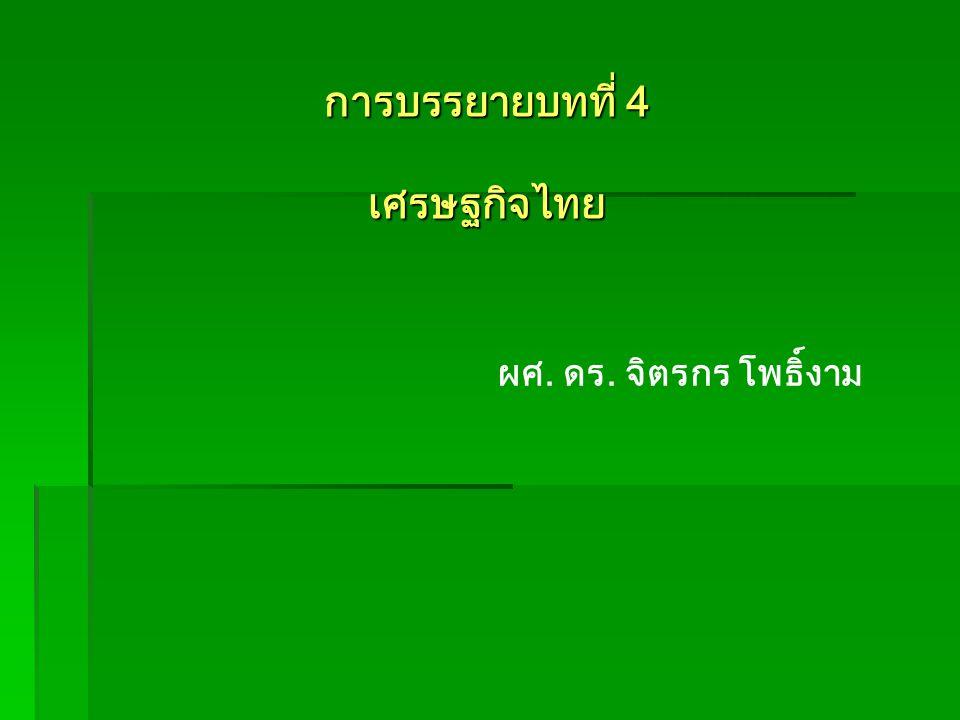 การบรรยายบทที่ 4 เศรษฐกิจไทย ผศ. ดร. จิตรกร โพธิ์งาม