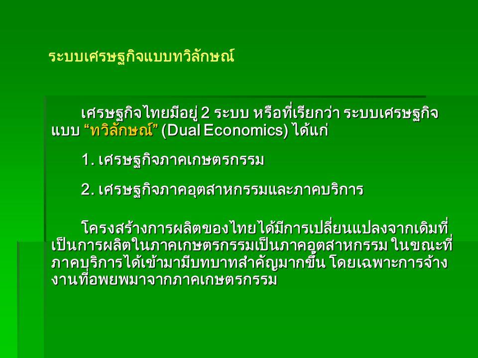 เศรษฐกิจไทยมีอยู่ 2 ระบบ หรือที่เรียกว่า ระบบเศรษฐกิจ แบบ ทวิลักษณ์ (Dual Economics) ได้แก่ 1.