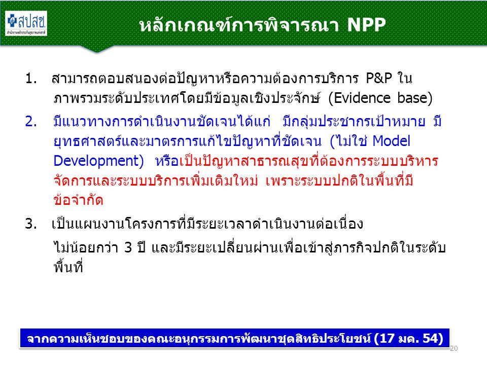 หลักเกณฑ์การพิจารณา NPP 20 1. สามารถตอบสนองต่อปัญหาหรือความต้องการบริการ P&P ใน ภาพรวมระดับประเทศโดยมีข้อมูลเชิงประจักษ์ (Evidence base) 2.มีแนวทางการ
