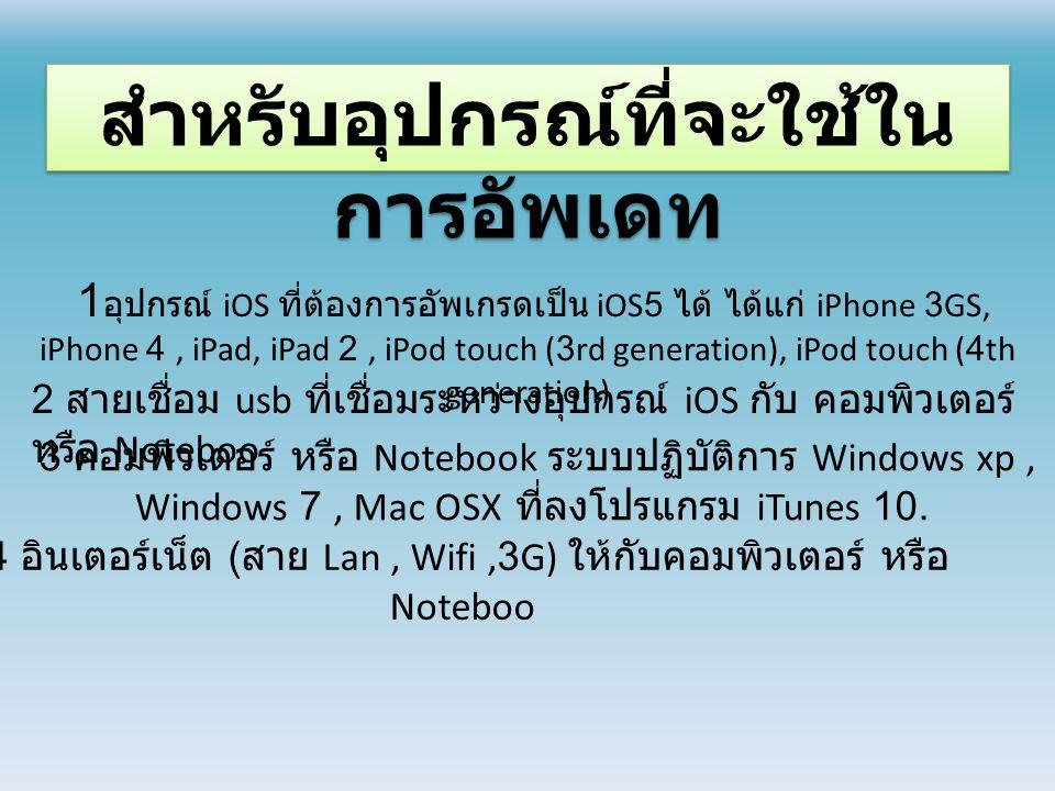 สำหรับอุปกรณ์ที่จะใช้ใน การอัพเดท 1 อุปกรณ์ iOS ที่ต้องการอัพเกรดเป็น iOS5 ได้ ได้แก่ iPhone 3GS, iPhone 4, iPad, iPad 2, iPod touch (3rd generation), iPod touch (4th generation) 2 สายเชื่อม usb ที่เชื่อมระหว่างอุปกรณ์ iOS กับ คอมพิวเตอร์ หรือ Noteboo 3 คอมพิวเตอร์ หรือ Notebook ระบบปฏิบัติการ Windows xp, Windows 7, Mac OSX ที่ลงโปรแกรม iTunes 10.