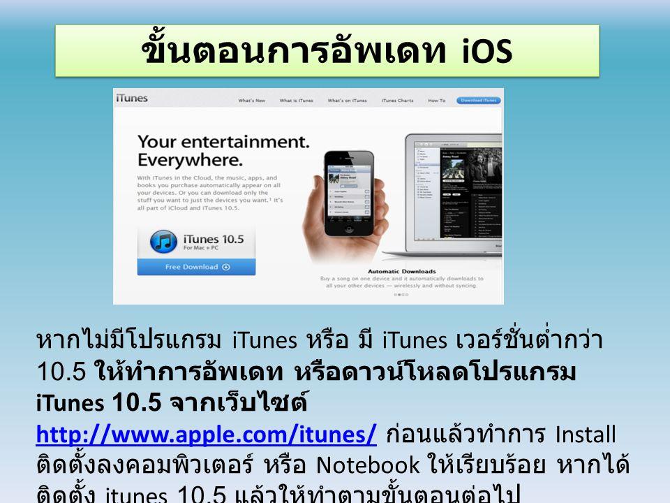 ขั้นตอนการอัพเดท iOS หากไม่มีโปรแกรม iTunes หรือ มี iTunes เวอร์ชั่นต่ำกว่า 10.5 ให้ทำการอัพเดท หรือดาวน์โหลดโปรแกรม iTunes 10.5 จากเว็บไซต์ http://www.apple.com/itunes/ ก่อนแล้วทำการ Install ติดตั้งลงคอมพิวเตอร์ หรือ Notebook ให้เรียบร้อย หากได้ ติดตั้ง itunes 10.5 แล้วให้ทำตามขั้นตอนต่อไป http://www.apple.com/itunes/