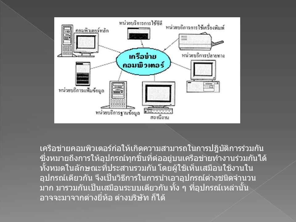  การเชื่อมต่อในความหมายของระบบเครือข่าย ท้องถิ่น ไม่ได้จำกัดอยู่ที่การเชื่อมต่อระหว่าง เครื่องไมโครคอมพิวเตอร์ แต่ยังรวมไปถึงการ เชื่อมต่ออุปกรณ์รอบข้าง เทคโนโลยีที่ก้าวหน้าทำ ให้การทำงานเฉพาะมีขอบเขตกว้างขวางยิ่งขึ้น มี การใช้เครื่องบริการแฟ้มข้อมูลเป็นที่เก็บรวบควม แฟ้มข้อมูลต่างๆ มีการทำฐานข้อมูลกลาง มีหน่วย จัดการระบบสือสารหน่วยบริการใช้เครื่องพิมพ์ หน่วยบริการการใช้ซีดี หน่วยบริการปลายทาง และอุปกรณ์ประกอบสำหรับต่อเข้าในระบบ เครือข่ายเพื่อจะทำงานเฉพาะเจาะจงอย่างใดอย่าง หนึ่ง ในรูป เป็นตัวอย่างเครือข่ายคอมพิวเตอร์ที่จัด กลุ่มเชื่อมโยงเป็นระบบ