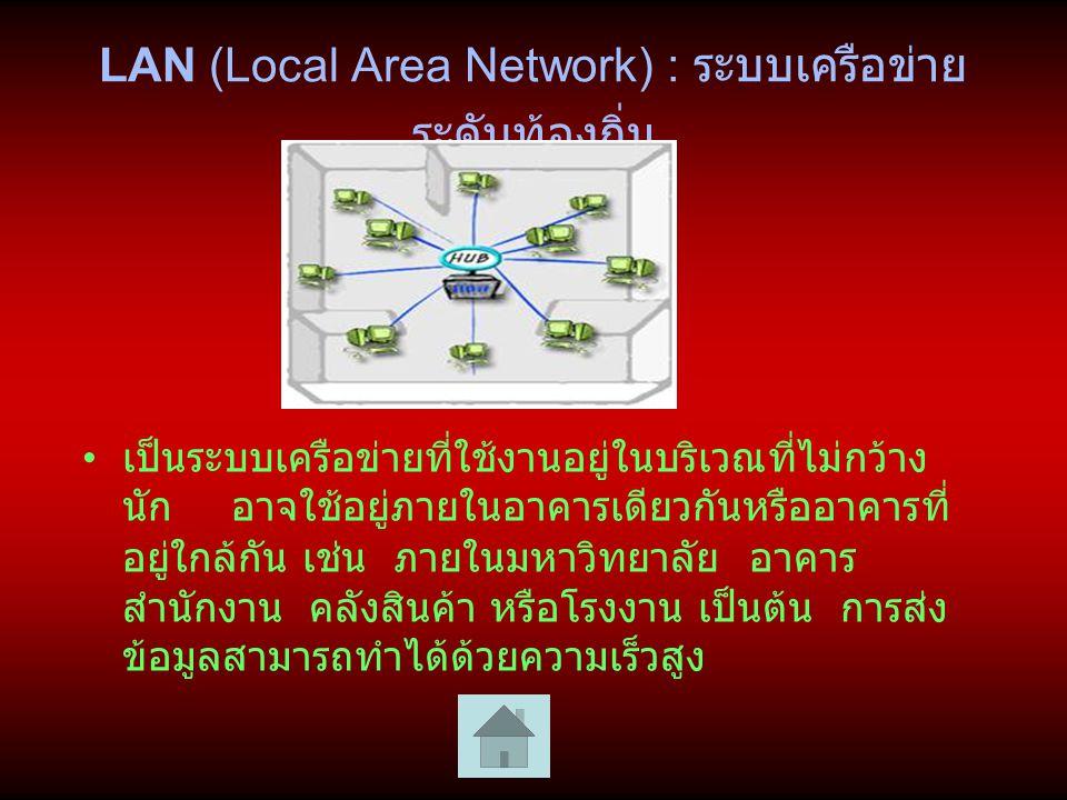 MAN (Metropolitan Area Network) : ระบบเครือข่ายระดับเมือง เป็นระบบเครือข่ายที่มีขนาดอยู่ระหว่าง LAN และ Wan เป็น ระบบเครือข่ายที่ใช้ภายในเมืองหรือจังหวัดเท่านั้น การเชื่อมโยง จะต้องอาศัยระบบบริการเครือข่ายสาธารณะ จึงเป็นเครือข่ายที่ ใช้กับองค์การที่มีสาขาห่างไกลและต้องการเชื่อมสาขาเหล่านั้น เข้าด้วยกัน เช่น ธนาคาร เครือข่ายแวนเชื่อมโยงระยะไกลมาก จึงมีความเร็วในการสื่อสารไม่สูง เนื่องจากมีสัญญาณรบกวนใน สาย เทคโนโลยีที่ใช้กับเครือข่ายแวนมีความหลากหลาย มีการ เชื่อมโยงระหว่างประเทศด้วยช่องสัญญาณดาวเทียม เส้นใยนำแสง คลื่นไมโครเวฟ คลื่นวิทยุ สายเคเบิล