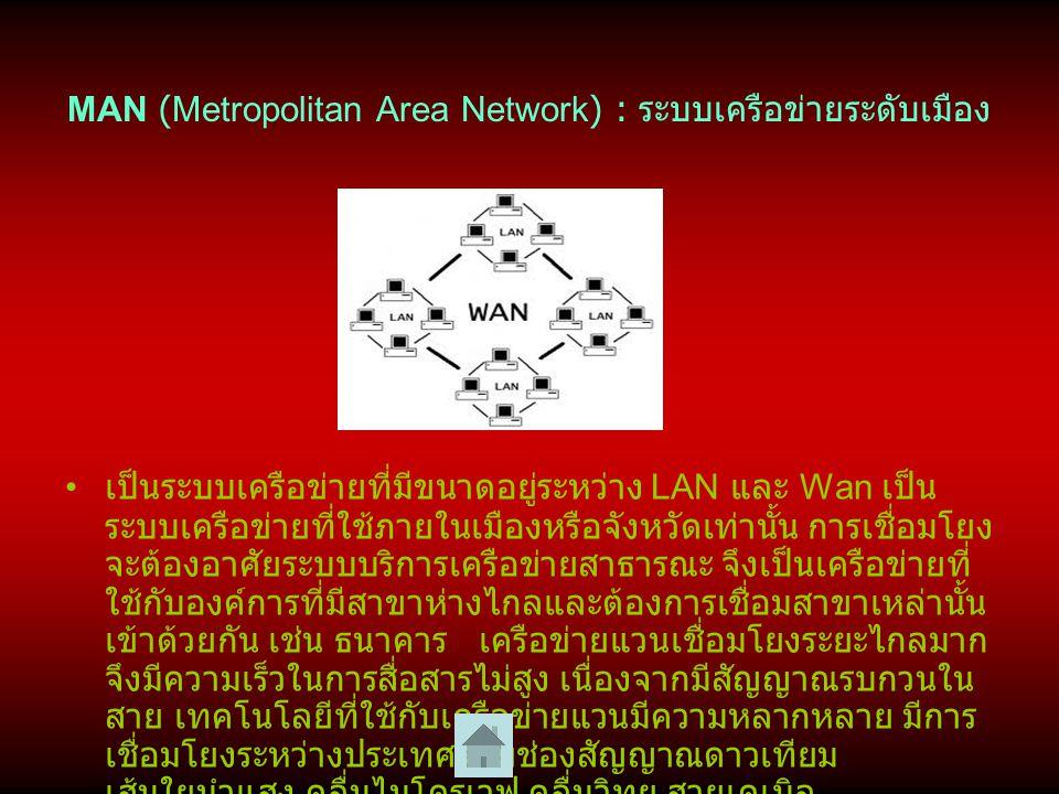 WAN (Wide Area Network) : ระบบเครือข่ายระดับประเทศ หรือเครือข่าย บริเวณกว้าง เป็นระบบเครือข่ายที่ติดตั้งใช้งานอยู่ในบริเวณกว้าง เช่น ระบบเครือข่ายที่ติดตั้งใช้งานทั่วโลก เป็น เครือข่ายที่เชื่อมต่อคอมพิวเตอร์หรืออุปกรณ์ที่อยู่ ห่างไกลกันเข้าด้วยกัน อาจจะต้องเป็นการ ติดต่อสื่อสารกันในระดับประเทศ ข้ามทวีปหรือทั่วโลก ก็ได้ ปกติมีอัตราการส่งข้อมูลที่ต่ำและมีโอกาสเกิด ข้อผิดพลาด การส่งข้อมูลอาจใช้อุปกรณ์ในการสื่อสาร เช่น โมเด็ม (Modem) มาช่วย