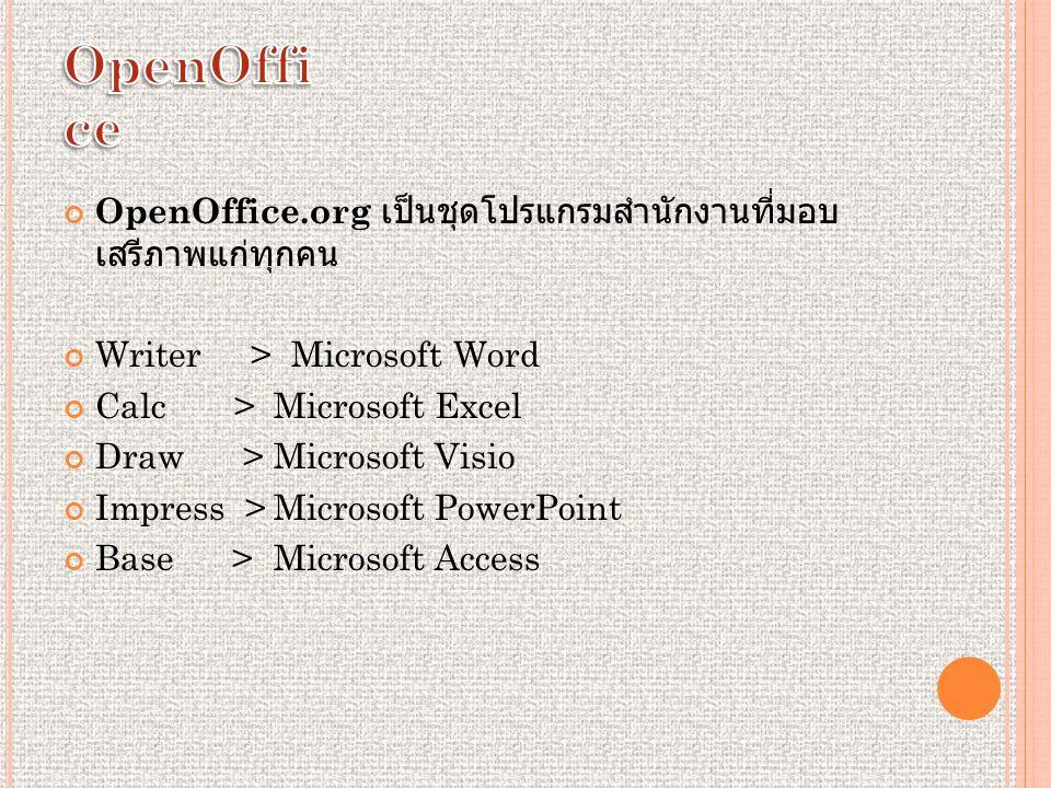 OpenOffice.org เป็นชุดโปรแกรมสำนักงานที่มอบ เสรีภาพแก่ทุกคน Writer > Microsoft Word Calc > Microsoft Excel Draw > Microsoft Visio Impress >Microsoft PowerPoint Base >Microsoft Access