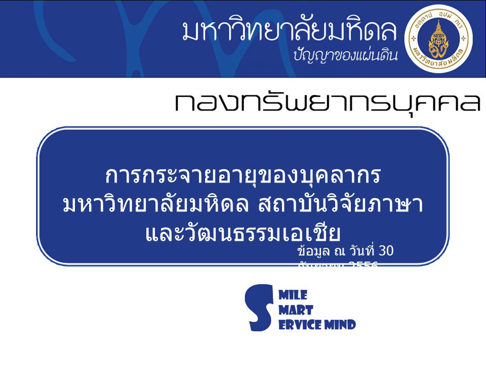 การกระจายอายุของบุคลากร มหาวิทยาลัยมหิดล สถาบันวิจัยภาษา และวัฒนธรรมเอเชีย ข้อมูล ณ วันที่ 30 กันยายน 2556