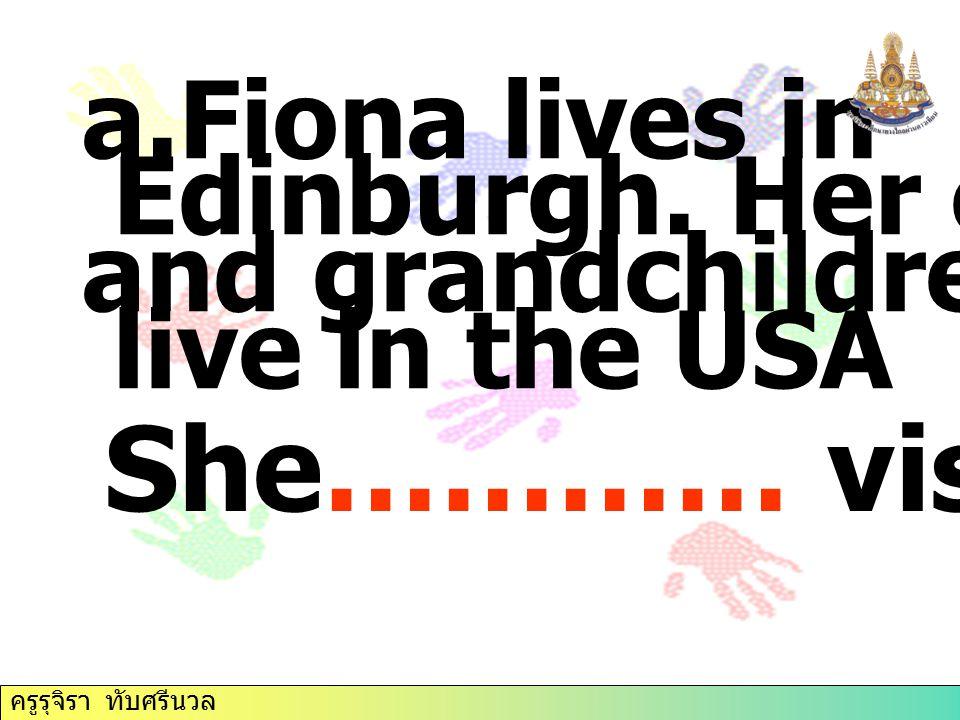 a.Fiona lives in Edinburgh.Her children and grandchildren all live in the USA She………… visit them.