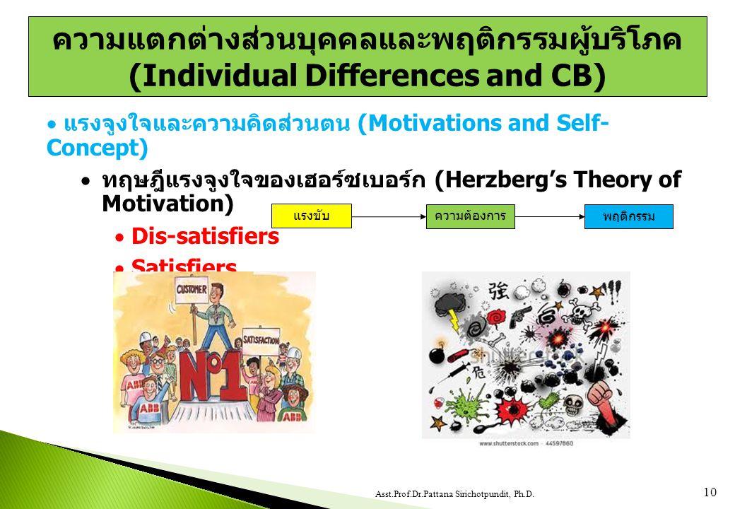  แรงจูงใจและความคิดส่วนตน (Motivations and Self- Concept)  ทฤษฎีแรงจูงใจของเฮอร์ซเบอร์ก (Herzberg's Theory of Motivation)  Dis-satisfiers  Satisfiers 10 Asst.Prof.Dr.Pattana Sirichotpundit, Ph.D.