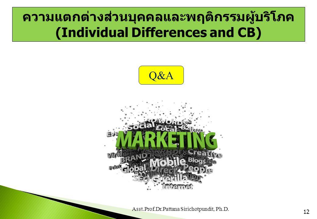 12 Q&A Asst.Prof.Dr.Pattana Sirichotpundit, Ph.D. ความแตกต่างส่วนบุคคลและพฤติกรรมผู้บริโภค (Individual Differences and CB)