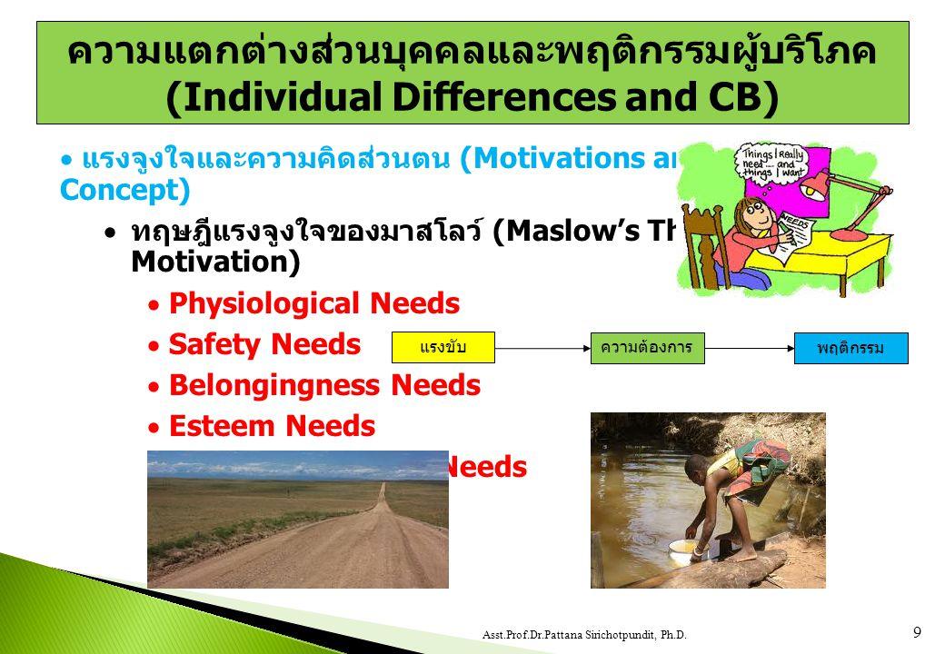  แรงจูงใจและความคิดส่วนตน (Motivations and Self- Concept)  ทฤษฎีแรงจูงใจของมาสโลว์ (Maslow's Theory of Motivation)  Physiological Needs  Safety Needs  Belongingness Needs  Esteem Needs  Self-Actualization Needs 9 Asst.Prof.Dr.Pattana Sirichotpundit, Ph.D.