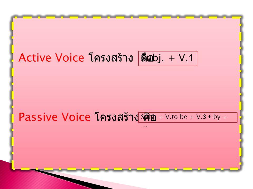 Active Voice โครงสร้าง คือ Passive Voice โครงสร้าง คือ Active Voice โครงสร้าง คือ Passive Voice โครงสร้าง คือ Subj. + V.to be + V.3 + by + … Subj. + V