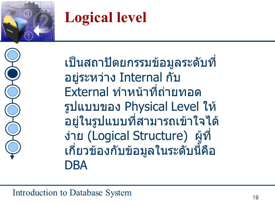 Introduction to Database System 19 Logical level เป็นสถาปัตยกรรมข้อมูลระดับที่ อยู่ระหว่าง Internal กับ External ทำหน้าที่ถ่ายทอด รูปแบบของ Physical L