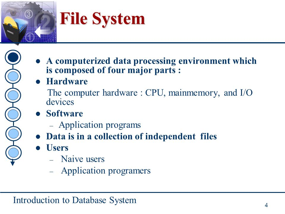Introduction to Database System 25 Table Contents Database system environment Database system architecture Database users Data independence Data dictionary Advantages and disavantages of database system