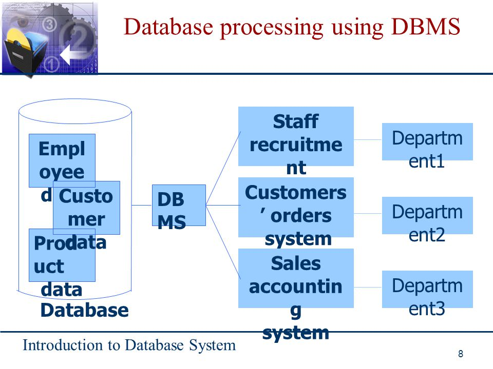 Introduction to Database System 8 Database processing using DBMS Database Staff recruitmen t system Customers' orders system Sales accounting system D