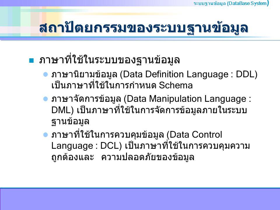 ระบบฐานข้อมูล (DataBase System ) สถาปัตยกรรมของระบบฐานข้อมูล n ภาษาที่ใช้ในระบบของฐานข้อมูล ภาษานิยามข้อมูล (Data Definition Language : DDL) เป็นภาษาที่ใช้ในการกำหนด Schema ภาษาจัดการข้อมูล (Data Manipulation Language : DML) เป็นภาษาที่ใช้ในการจัดการข้อมูลภายในระบบ ฐานข้อมูล ภาษาที่ใช้ในการควบคุมข้อมูล (Data Control Language : DCL) เป็นภาษาที่ใช้ในการควบคุมความ ถูกต้องและ ความปลอดภัยของข้อมูล