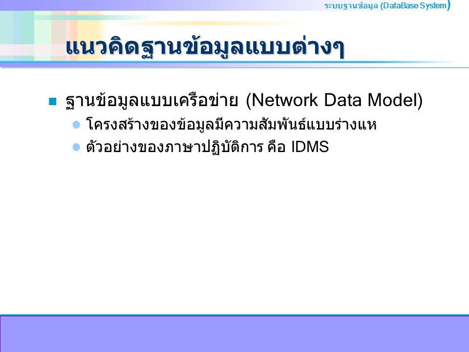 ระบบฐานข้อมูล (DataBase System ) แนวคิดฐานข้อมูลแบบต่างๆ n ฐานข้อมูลแบบเครือข่าย (Network Data Model) โครงสร้างของข้อมูลมีความสัมพันธ์แบบร่างแห ตัวอย่างของภาษาปฏิบัติการ คือ IDMS