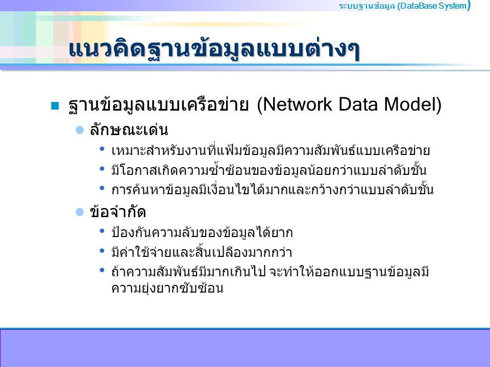 ระบบฐานข้อมูล (DataBase System ) แนวคิดฐานข้อมูลแบบต่างๆ n ฐานข้อมูลแบบเครือข่าย (Network Data Model) ลักษณะเด่น เหมาะสำหรับงานที่แฟ้มข้อมูลมีความสัมพันธ์แบบเครือข่าย มีโอกาสเกิดความซ้ำซ้อนของข้อมูลน้อยกว่าแบบลำดับชั้น การค้นหาข้อมูลมีเงื่อนไขได้มากและกว้างกว่าแบบลำดับชั้น ข้อจำกัด ป้องกันความลับของข้อมูลได้ยาก มีค่าใช้จ่ายและสิ้นเปลืองมากกว่า ถ้าความสัมพันธ์มีมากเกินไป จะทำให้ออกแบบฐานข้อมูลมี ความยุ่งยากซับซ้อน