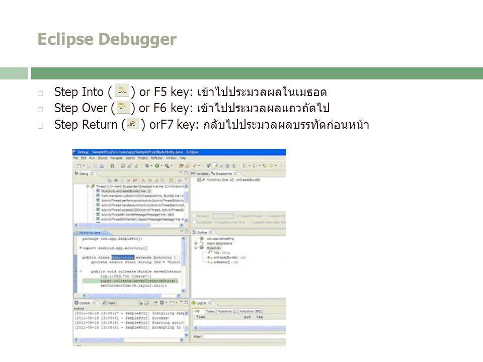 Eclipse Debugger  Step Into ( ) or F5 key: เข้าไปประมวลผลในเมธอด  Step Over ( ) or F6 key: เข้าไปประมวลผลแถวถัดไป  Step Return ( ) orF7 key: กลับไปประมวลผลบรรทัดก่อนหน้า