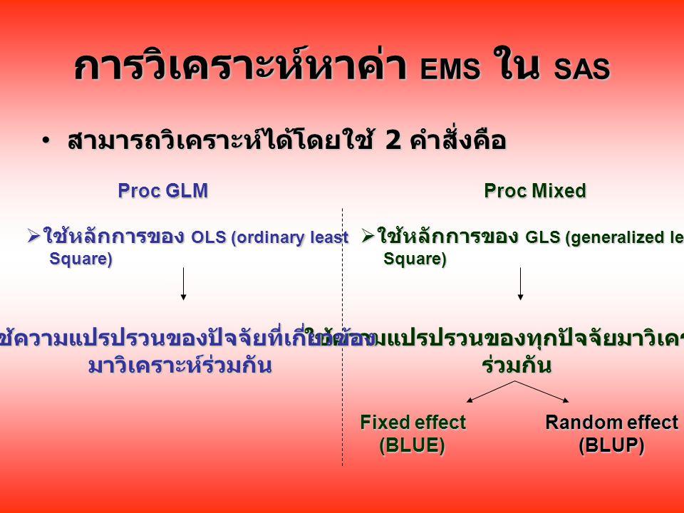 การวิเคราะห์หาค่า EMS ใน SAS สามารถวิเคราะห์ได้โดยใช้ 2 คำสั่งคือ สามารถวิเคราะห์ได้โดยใช้ 2 คำสั่งคือ Proc Mixed Proc GLM  ใช้หลักการของ OLS (ordinary least Square) Square)  ใช้หลักการของ GLS (generalized least Square) Square) ใช้ความแปรปรวนของทุกปัจจัยมาวิเคราะห์ร่วมกัน Fixed effect (BLUE) Random effect (BLUP) ใช้ความแปรปรวนของปัจจัยที่เกี่ยวข้องมาวิเคราะห์ร่วมกัน