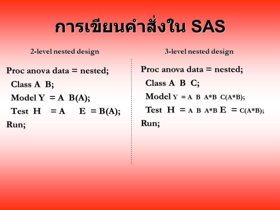 การเขียนคำสั่งใน SAS Proc anova data = nested; Class A B; Class A B; Model Y = A B(A); Model Y = A B(A); Test H = A E = B(A); Test H = A E = B(A);Run; Proc anova data = nested; Class A B C; Class A B C; Model Y = A B A*B C(A*B); Model Y = A B A*B C(A*B); Test H = A B A*B E = C(A*B); Test H = A B A*B E = C(A*B);Run; 2-level nested design 3-level nested design