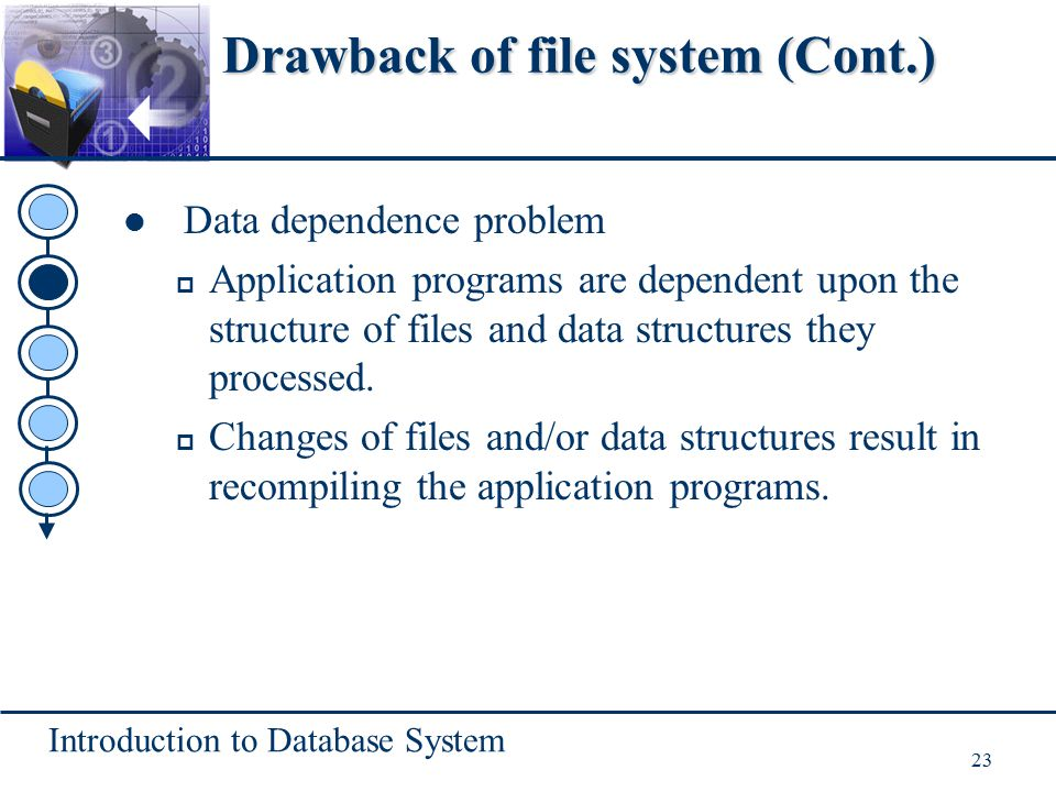 Introduction to Database System 23 Drawback of file system (Cont.) Data dependence problem p Application programs are dependent upon the structure of
