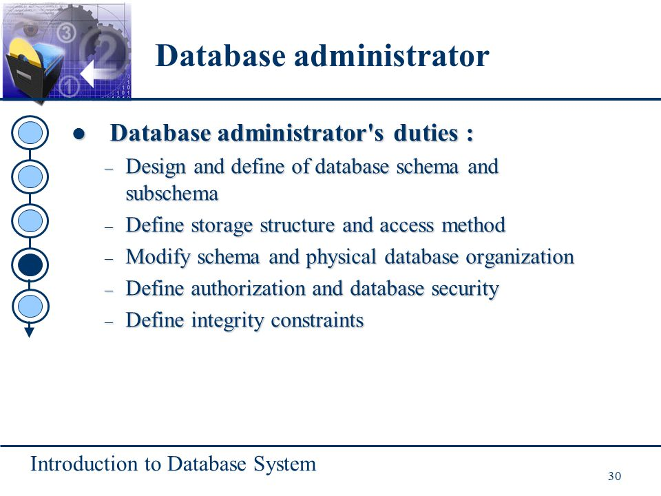 Introduction to Database System 30 Database administrator's duties : Database administrator's duties : – Design and define of database schema and subs
