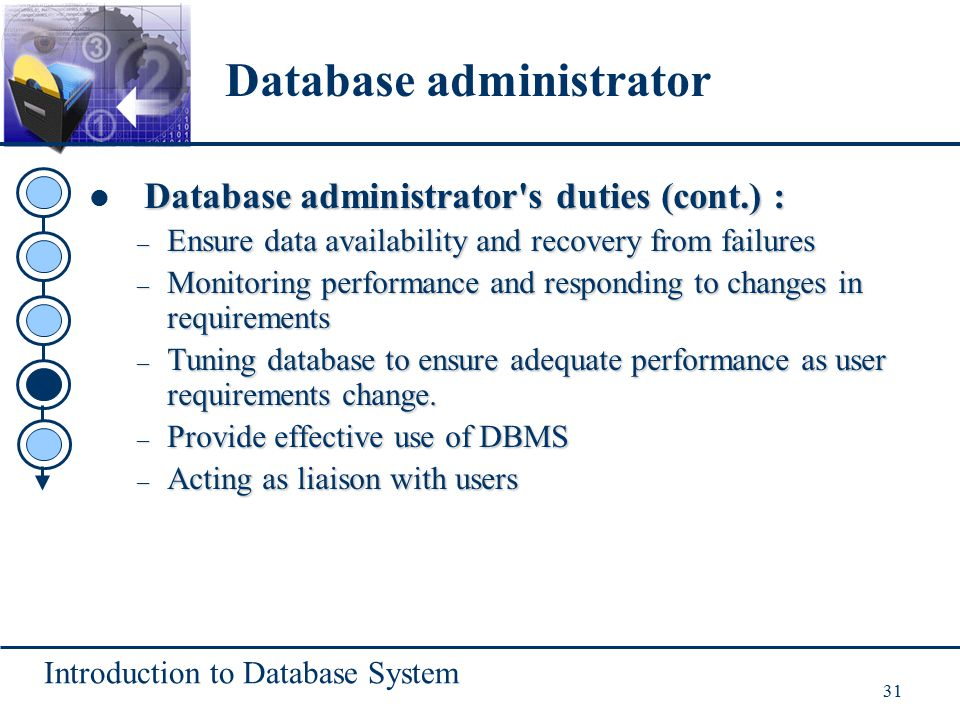Introduction to Database System 31 Database administrator s duties (cont.) : – Ensure data availability and recovery from failures – Monitoring performance and responding to changes in requirements – Tuning database to ensure adequate performance as user requirements change.