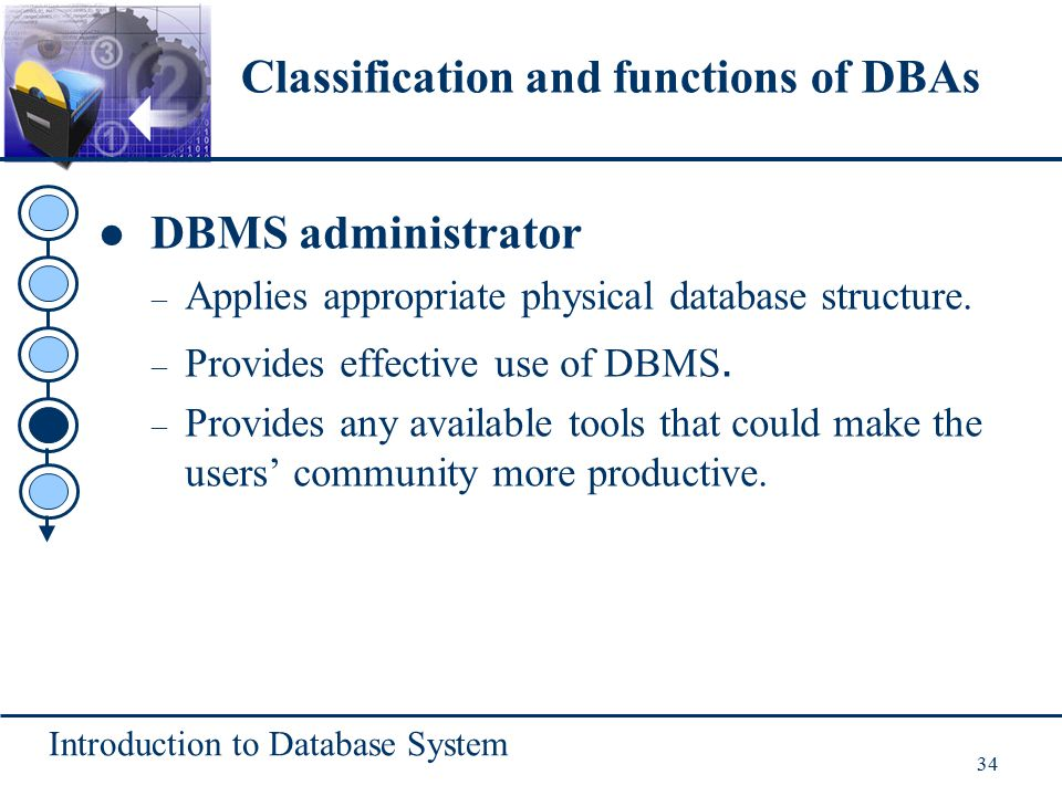 Introduction to Database System 34 DBMS administrator – Applies appropriate physical database structure. – Provides effective use of DBMS. – Provides